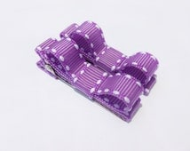 2 small hair bows--neon purple saddle stich hair bows--infant baby girls--small clip barrettes