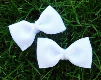 2 all white flower girl hair bow clips-- tuxedo bows for babies toddler big girl bows--wedding bridal shower gift idea
