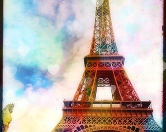 Eiffel Tower Photography, Paris Photography Art Print, Bokeh Hearts, Pink, Pastels, Romantic Paris Art