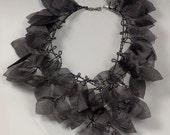 Botanical necklace. Black gothic textile art necklace. Bohemian wedding jewelry. Botanical bijoux textile. Gothic wedding black necklace.