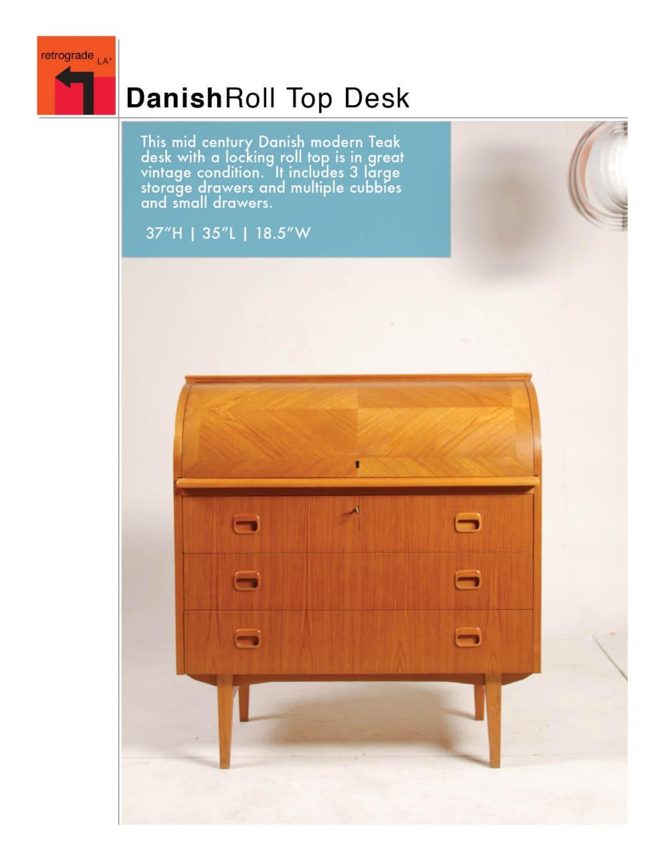 mid century danish modern roll top desk in teak. Black Bedroom Furniture Sets. Home Design Ideas