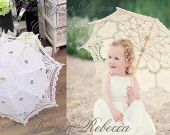 For Wedding Flower Girl Handmade Battenburg Lace Vintage Umbrella Parasol