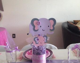 Elephant Centerpiece, Purple Elephant, Centerpiece Pick, Elephant Baby Shower, Jar Filler, Purple Baby Theme, CUSTOM ORDER