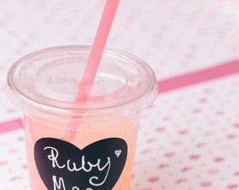 24 Chalkboard Heart Party Cups, Lids, Plastic Straws and Chalk - 12 oz or 16 oz - Wedding, Birthday, Baby Shower, Party