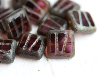 Dark Purple glass Beads, Picasso czech Square, table cut - 10mm - 10Pc - 1160