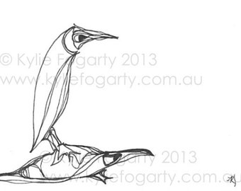 Black and White, Abstract Line Drawing, Aceo, Bird and Turtle Art, Line Art, Miniature Original Art, SFA