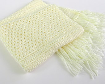 Winter Scarf in Yellow, Neck Scarf Crochet, Scarf with Fringe