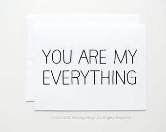 "Anniversary card "" You are my everything "" Greeting card. I love you card."