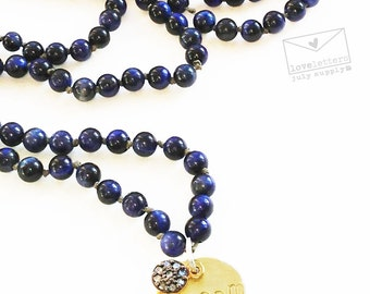 diamond, lapis lazuli and gold hand stamped charm necklace - dream - loveletters collection