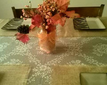 Place mats Burlap country look  fringe edge 12 X 18 set 4