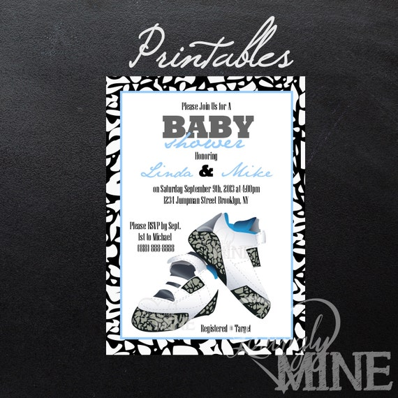 Printable Baby Shower Invitations - PERSONAL USE ONLY-  Baby Blue Shoes