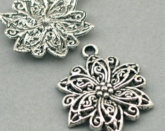 Flower Charms Antique Silver 4pcs base metal beads 23X30mm CM0410S