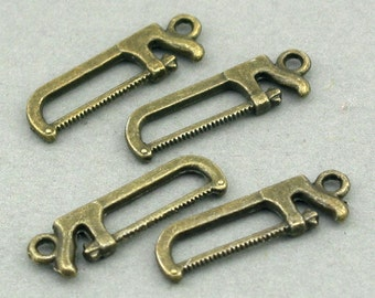 Hand Saw Charms Antique Bronze 6pcs base metal beads 8X25mm CM0541B