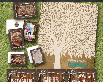 Wedding Bundle with Printing Included - Rustic Wedding - Invites, Save the Dates, Thank Yous, Envelope Seals and Signs!