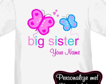 Big Sister Pink and Blue Butterfly Personalized T Shirt