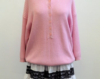 80s Vintage Very Cute Pink Knit Long Tee Jumper size L