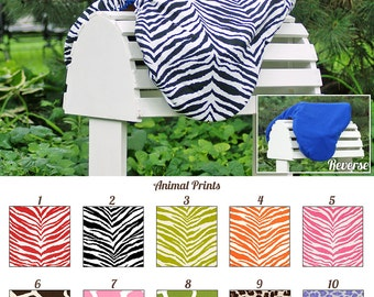 MADE TO ORDER Animal Print Reversible Saddle Cover Cheetah, Zebra, Leopard, Giraffe