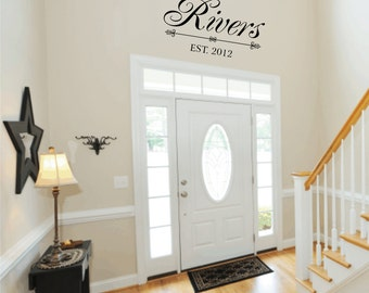 "Personalized Family Last Name Vinyl Wall Decal with Date Established Entry Way Foyer Living Room 18""H x 36"" W WA320"