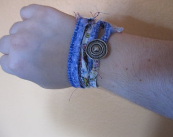BoHo Fabric Bracelet with silver button.