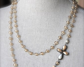 Pearl Milk glass Crystal Rhinestone Soldered Cross Necklace