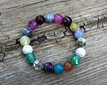 Multi-Color Faceted Agate Stretch Bracelet, Stacking Bracelet, Agate Bracelet, Gemstone Bracelet