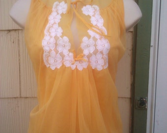 Vintage 1960s Orange Babydoll Gown Negliee Small Mad Men Mod Boho
