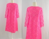 Mademoiselle Lace Dress - Vintage 1960s Bright Hot Pink Shift Dress - Medium by Windsor