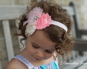 Pink and Ivory  Headband/Child Headband /baby Girl Headband /Photo prop Headband