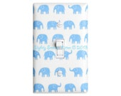 Blue Elephant Light Switch Plate / Baby Boy Nursery Decor / Kids Room / Sky Blue White