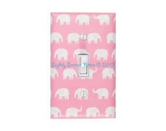 Elephant Switchplate Pink and White Nursery Light Switch Plate Cover / Baby Girl Nursery Decor Girls Room / Slightly Smitten Kitten