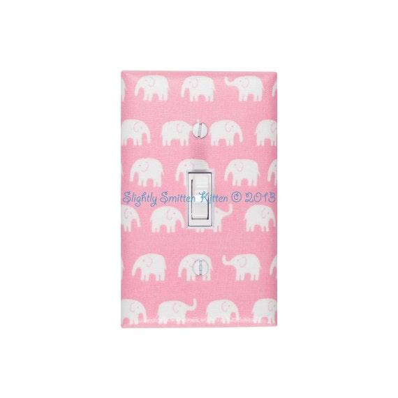 Elephant Switchplate Pink and White Nursery Light Switch Plate Cover / Baby Girl Nursery Decor Girls Room / Slightly Smitten Kitten