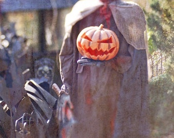 Halloween Headless Horseman Pumpkin Man  Spooky Scary Dark Photography October Halloween Decor Haunted House, Fine Art Print