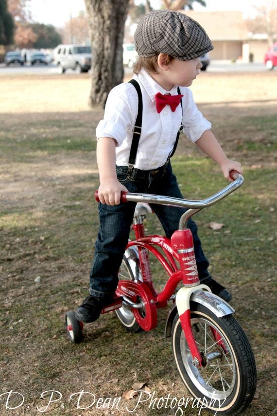 Suspenders set, bow tie suspenders, Christmas, boy props, red bow tie, black suspenders, elastic suspenders, black and red, ring bearer