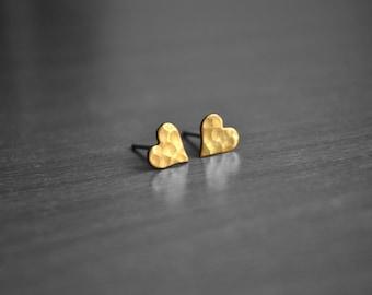 Heart Earring Studs, Hammered Earrings, Raw Brass Earrings with Sterling Silver Posts, Dainty Everyday Earrings