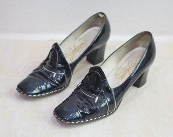 Vintage 1960's Patent Deep Blue Loafers Sz 6.5/7