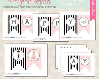 Princess and Pirate Birthday Party DIY printable Banner