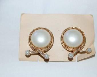 VINTAGE LUXE Pearl Style Clip on Earrings with Braided and Leaf Detailing