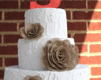 3 ooak natural burlap rose flower wedding cake decor toppers. other colors available