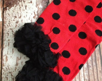 Ladybug Leg Warmers - Red and Black - Toddler, Child - Ready to Ship