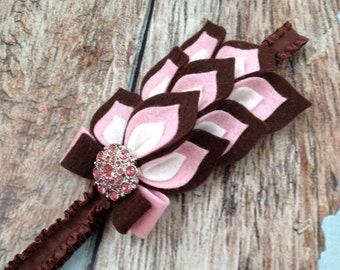 Brown / Pink Flower Headband - Felt Dahlia Petals Ruffle Elastic Headband - Brown Pink Baby Felt Headband