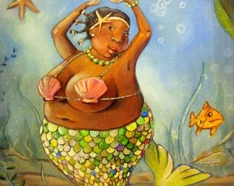 """Black bbw mermaid high quality print on canvas. Great bathroom art 8""""x10"""""""