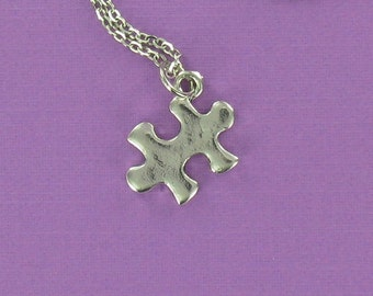 PUZZLE PIECE Necklace - Pewter Charm on a FREE Plated Chain