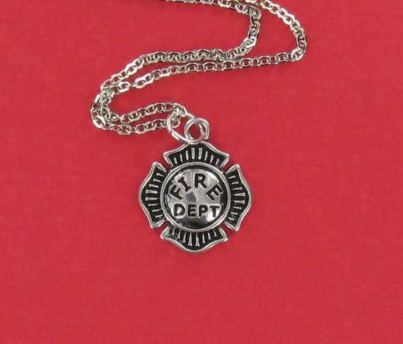 FIREFIGHTER EMBLEM Necklace - Pewter Charm on a FREE Plated Chain