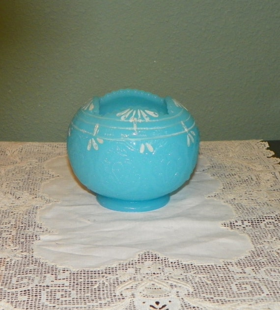 Vintage Fenton Rose Bowl Vase Blue Persian Medallion Opaline
