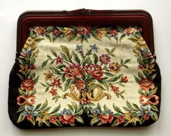 Antique Floral Embroidered Clutch w/ Bakelite Handle & Frame