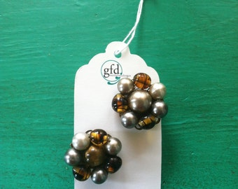 Vintage - 1960s Brown, Silver, and Bronze Beaded Clip-On Earrings