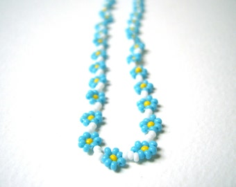 Forget Me Not Blue Necklace, Seed Bead Necklace, Light Blue Flower Necklace, Summer Fashion UK