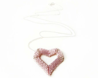 Pink Heart Pendant Necklace, Beaded Heart Necklace, Seed Bead Puffy Heart , UK Seller