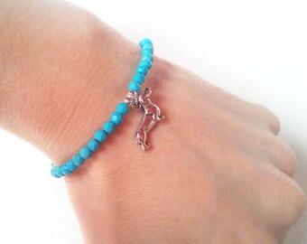 Sausage Dog Bracelet, Turquoise Bead Bracelet, Beaded Dachshund Jewelry, UK Seller