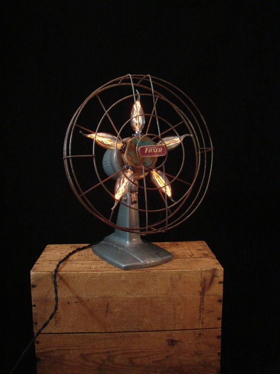 Electrical Table Fan : Table lamp upcycled vintage electric fan by benclifdesigns